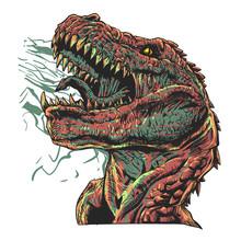 Aggressive Tyrannosaur - Jurassic Monster - Vector Illustration