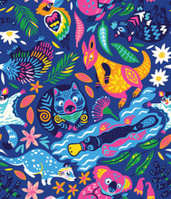 Seamless Pattern With Decorative Australian Animals In Bright Colors. Vector Illustration