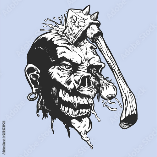 Canvas Print Cartoon zombie with axe in his head - Vector illustration