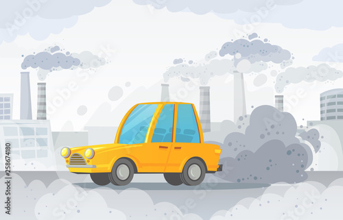 Spoed Foto op Canvas Cartoon cars Car air pollution. City road smog, factories smoke and industrial carbon dioxide clouds vector illustration