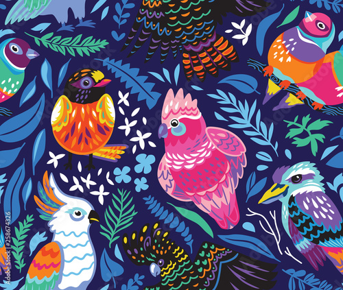 plakat Seamless pattern with exotic australian birds and tropical leaves on navy blue background