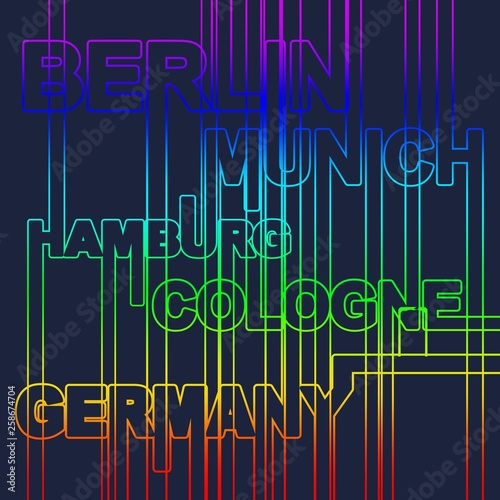 Image relative to Germany travel theme  Cities names in geometry