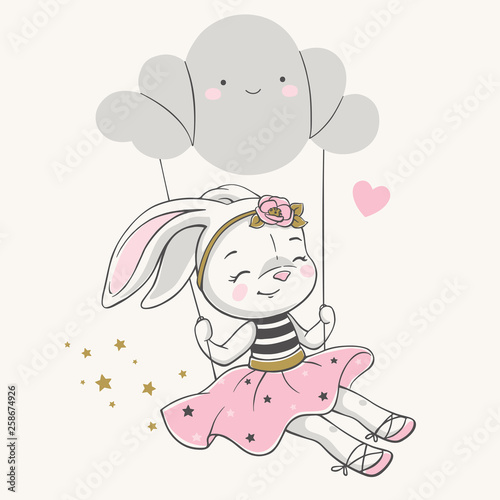 Stampa su Tela Hand drawn vector illustration of a cute bunny girl in a pink dress, swinging on a cloud