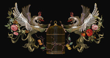 Embroidery Two Griffins And Gold Cage. Medieval Art. Gothic Template Tapestry Renaissance Style. Template For Clothes, T-shirt Design