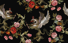 Embroidery Griffins And Red Ro...