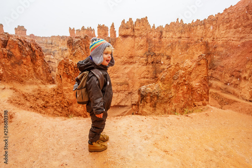 Vászonkép Boy hiking in Bryce canyon National Park, Utah, USA