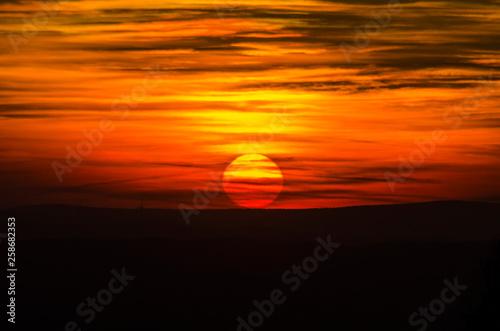 Keuken foto achterwand Oranje eclat zachód słońca