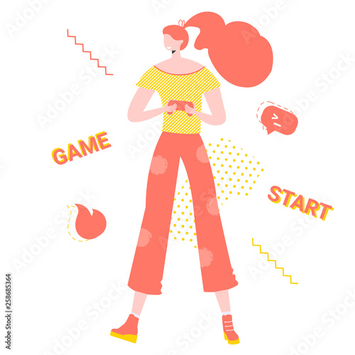 Photo  Girl gamer with joystick in her hands