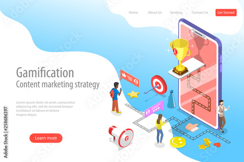 Fotografía  Isometric flat vector landing pate template of gamification, interactive content, customer engagement