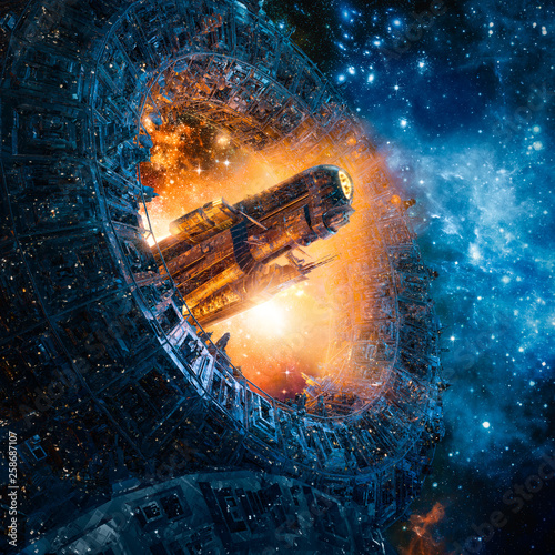 Photo Titan's gate revisited / 3D illustration of science fiction heavy armoured battl
