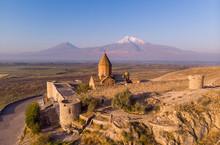 Ancient Armenian Church Khor Virap With Ararat In Sunrise. Top View