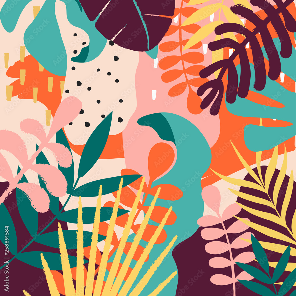 Fototapety, obrazy: Tropical jungle leaves and flowers background. Colorful tropical poster design. Exotic leaves, flowers, plants and branches art print. Botanical pattern, wallpaper, fabric vector illustration design