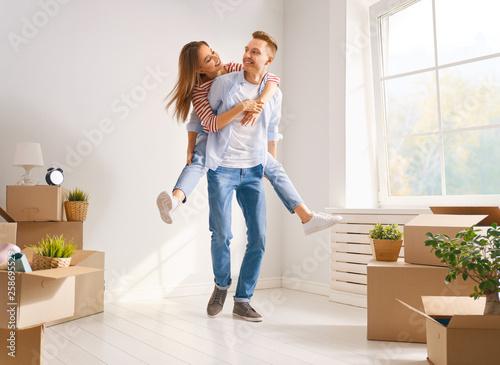 Fotografie, Obraz  couple moving to new apartment