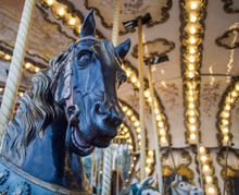 View Of Old Carrousel Installed In The City With Detail Of Horse Head