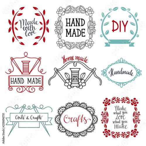Fotografija Arts and crafts sewing hand drawn supplies, tools