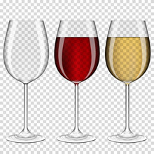 Set Of Realistic Transparent Wine Glasses Empty, With Red And White Wine, Isolated On Transparent Background.