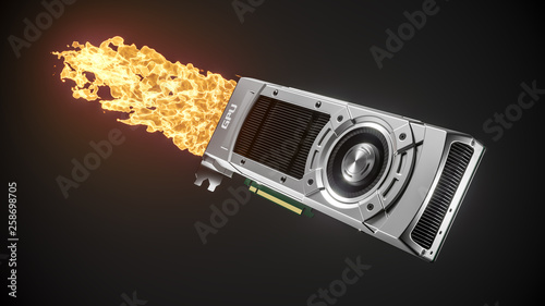 Fotomural  Boosted graphic card with fire flame. 3d