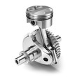 canvas print picture One piston crank gear engine isolated on white background 3d