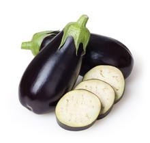 Fresh Eggplants Isolated On Wh...