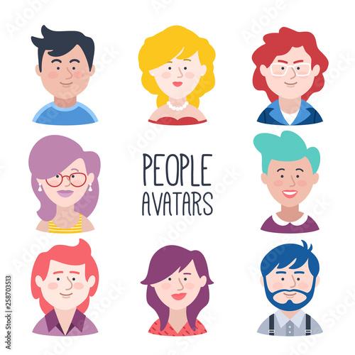 Conjunto de avatares de jovenes Wallpaper Mural