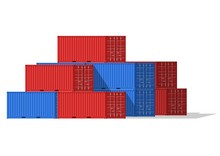 Cargo Containers Stack For Freight Shipping And Sea Export Isolated On White Background. Sea Port Logistics And Transportation Vector Illustration