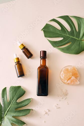 Fototapeta cosmetic nature skincare and essential oil aromatherapy .organic natural science beauty product .herbal alternative medicine . mock up. obraz na płótnie