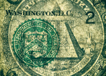 Banknote's Skin. The Department Of The Treasury Seal And The Pyramid, Highly Magnified Surface Of Used 1 Dollar Banknote With Visible Details Of Cotton Fiber Paper, With All Flaws, Watermarks And Trac