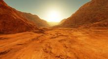 Sunset On Mars. Martian Landscape, Dry River Bed On Mars