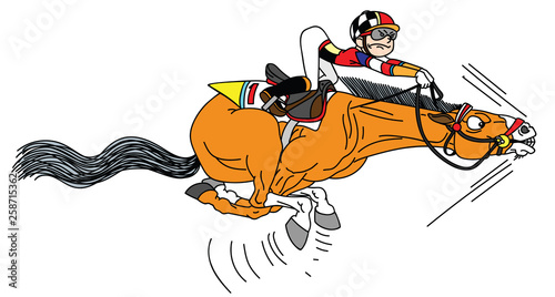 Photo cartoon race horse with jockey galloping in the full speed