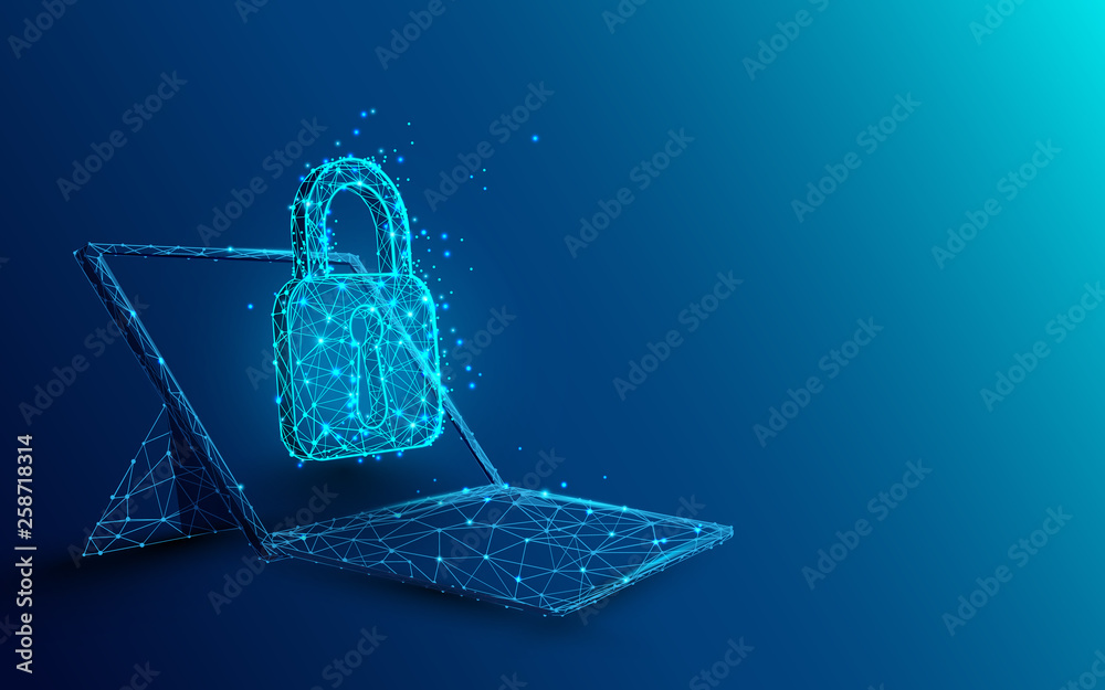 Fototapeta Laptop with padlock and security concept from lines, triangles and particle style design. Illustration vector