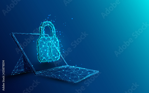 Photo  Laptop with padlock and security concept from lines, triangles and particle style design
