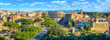 Scenic panorama of Rome with Colosseum and Roman Forum, Italy.