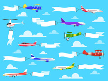 Banners With Planes. Flying Ai...