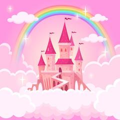 Dvorac princeze. Fantazijska leteća palača u ružičastim magičnim oblacima. Bajkovita kraljevska srednjovjekovna nebeska palača. Crtani vektor ilustracija