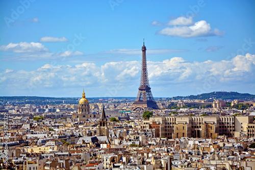 Poster Paris Aerial view of the Eiffel Tower from Notre Dame de Paris
