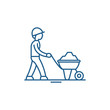 Construction works line concept icon. Construction works flat vector website sign, outline symbol, illustration.