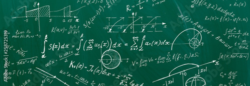 Close up of math formulas on a blackboard Canvas Print