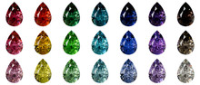 Set Of Multi Colored Pear Cut Diamonds Isolated On White Background