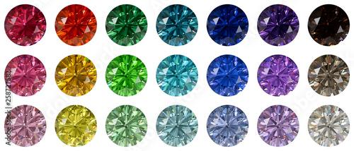 Valokuva  Set of multi colored round brilliant cut diamonds isolated on white background