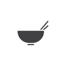 Noodles Bowl Vector Icon. Fill...