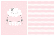 Lovely Pink Baby Shower Vector Card. Smiling White Fluffy Cloud Holding A Banner With The Inscription Girl. Cute Hand Drawn Cloud On A Light Pink Background. Irregular Stripped Vector Pattern.