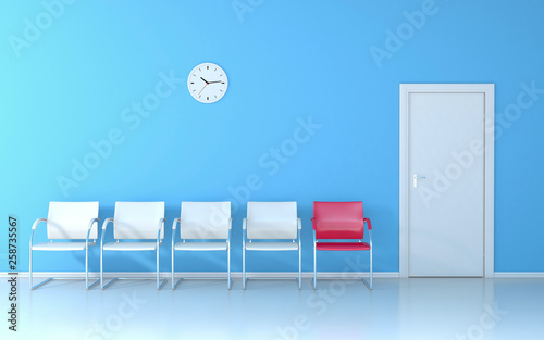 Pleasing Blue Waiting Room With Four White Seats And One Red Seat Pabps2019 Chair Design Images Pabps2019Com