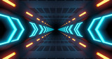 Fototapeta Perspektywa 3d - flying into tunnel, sci-fi spaceship corridor. Futuristic technology abstract seamless for tech titles and background. graphic network, big data, data center, server, internet, speed. 3D render