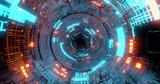 Fototapeta Do przedpokoju - flying into tunnel, sci-fi spaceship corridor. Futuristic technology abstract seamless for tech titles and background. graphic network, big data, data center, server, internet, speed. 3D render