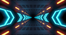 Flying Into Tunnel, Sci-fi Spaceship Corridor. Futuristic Technology Abstract Seamless For Tech Titles And Background. Graphic Network, Big Data, Data Center, Server, Internet, Speed. 3D Render