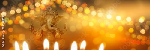 Photo festive diwali background with ganesha goddess