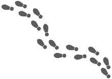 Vector Shoe Tracks Footpath On...