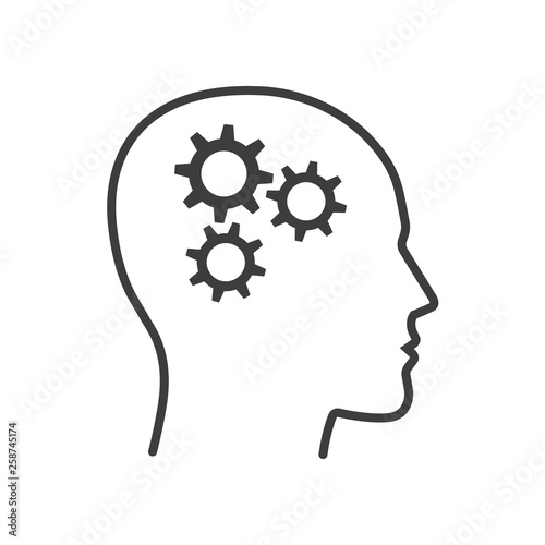 Fotografia Line head with gears. Vector Isolated.