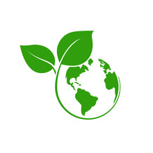 Planet Earth With Plant Logo D...
