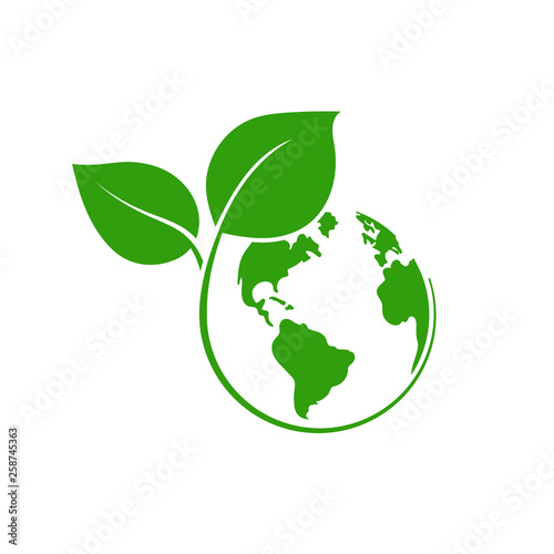 Planet Earth with plant logo design. Vector. Isilated.